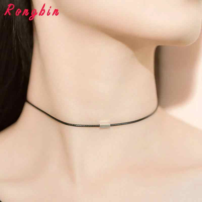Simple Choker Necklace Thin Black Leather Rope Maxi Necklaces Silver Plated  Metal Fashion Geometric Collar Necklace 0f0a4debdec0