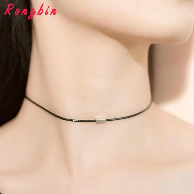 Simple Choker Necklace Thin Black Leather Rope Maxi Necklaces Silver Plated Metal Fashion Geometric Collar Necklace Women
