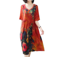 2019 Casual Summer Bohemian Dress Women Satin Silk Office Dress Female Loose Long Ladies Dresses Floral Print Plus Size 4XL Q360(China)