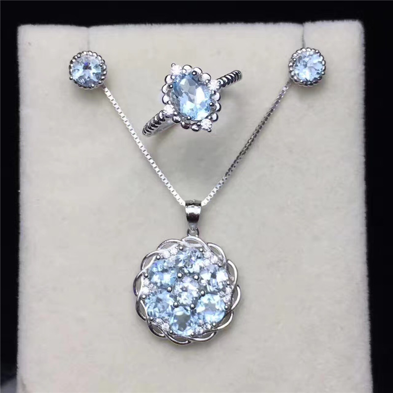 Jewelry Sets For Women 925 Silver Natural Blue Topaz Gemstone Ring Necklace Pendants Stud Earrings Elegant Fine Jewelry CCS001-2Jewelry Sets For Women 925 Silver Natural Blue Topaz Gemstone Ring Necklace Pendants Stud Earrings Elegant Fine Jewelry CCS001-2