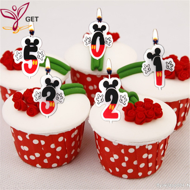 Birthday Cake Candle Mickey Mouse Party Supplies 0 1 2 3 4 5 6 7