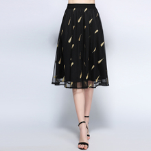 women summer skirts plus size european woman brand 5xl feather mesh print A line extra large skirt for office lady