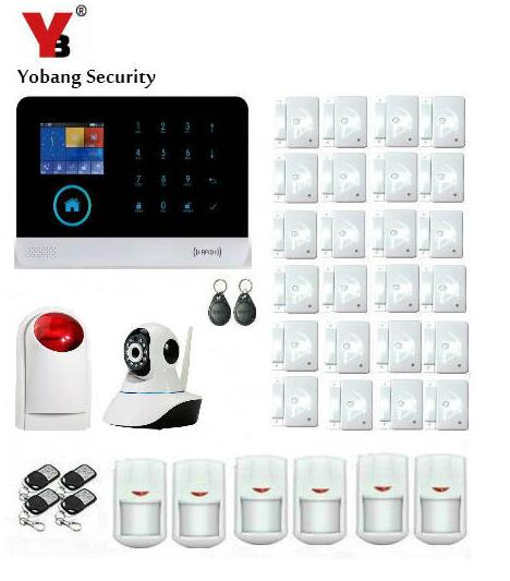 Yobang Security WIFI Wireless SMS Home Security Alarm System Strobe Siren APP Smart Burglar Alarma GSM HD IP Camera Monitoring yobang security touch screen 3g gsm alarm system wifi sms smart home burglar alarm with ip camera for baby pet elder monitor