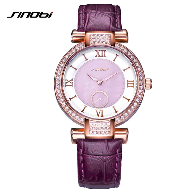 SINOBI 2018 New Colorful Diamond Watch Women Golden Dress Geneva Clock Luxury Brand Leather Strap Lady Fashion Quartz Watches weiqin new 100% ceramic watches women clock dress wristwatch lady quartz watch waterproof diamond gold watches luxury brand
