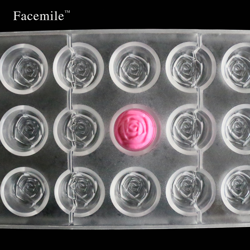 Facemile Baking Pastry Tool Rose Flower polycarbonate Chocolate Candy Mold Tray Pudding Mold Kitchen Bakeware Pastry