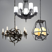 Industrial Nordic Vintage Bar Iron Ceiling Chandelier Lamp Light Room Decor Cafe