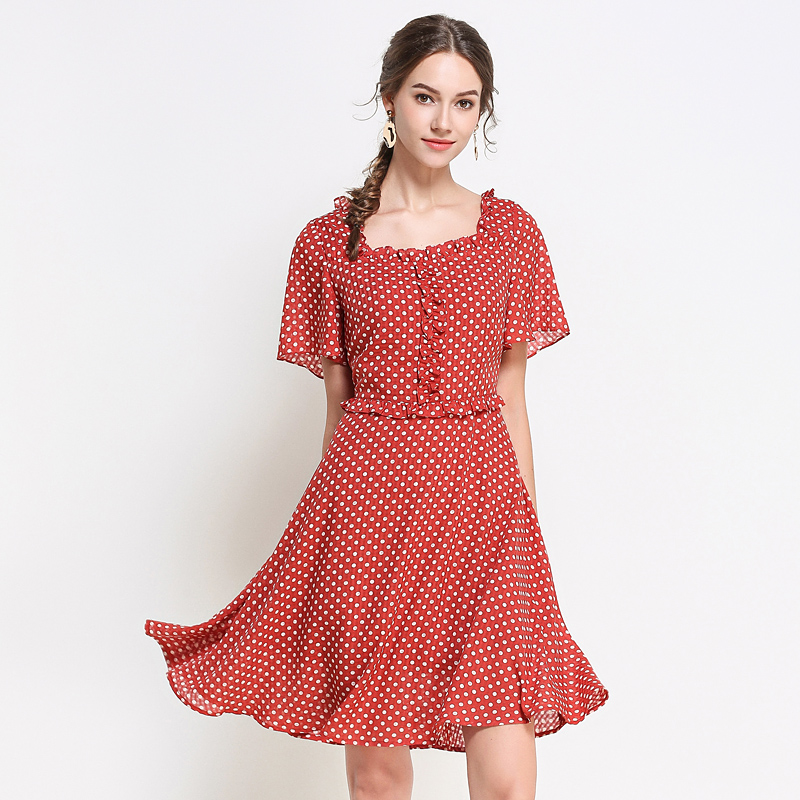 women dresses plus size summer dot print cute party work