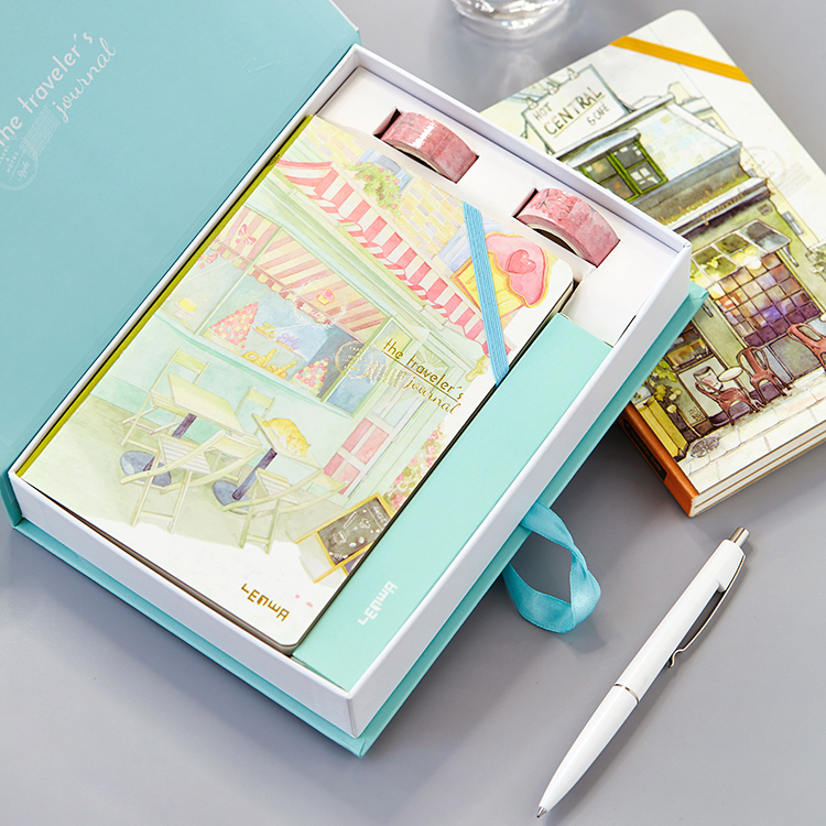 Travel Theme Planners Journal Gift Set with 6 In 1 Colored Pen Washi Tape and Gift Box Creative Hobo Notebook for Travelers