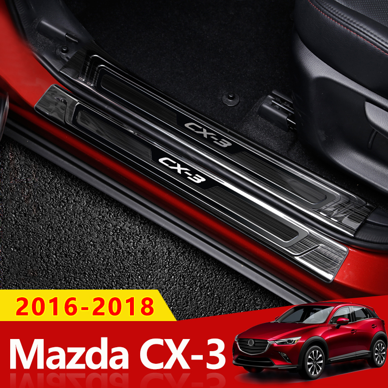 For <font><b>Mazda</b></font> CX3 <font><b>CX</b></font>-<font><b>3</b></font> 2016 <font><b>2017</b></font> 2018 Stainless Steel Scuff Plate Door Sill Welcome Pedal Protector Stickers Car Styling Accessories image