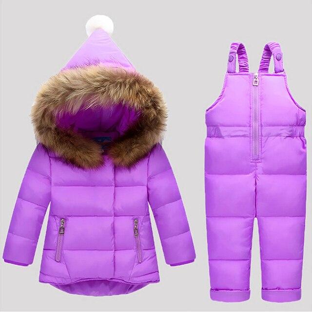 93df2eb59 Rusia invierno niños ropa conjuntos mono chaquetas de nieve + pantalón  babero 2 unids conjunto bebé