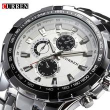 Curren esporte militar mens relógios top marca de luxo de aço inoxidável relógio de quartzo homens moda masculina relógio casual relogio masculino