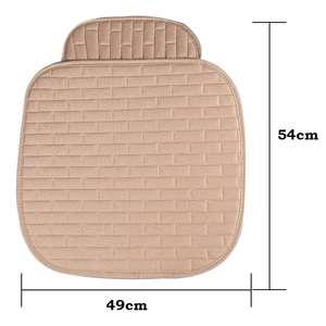 Image 3 - Dewtreetali 2018 Hot  Linen Fabric Car Seat Cover Four Seasons Front Rear Flax Cushion Breathable Protector Mat Pad
