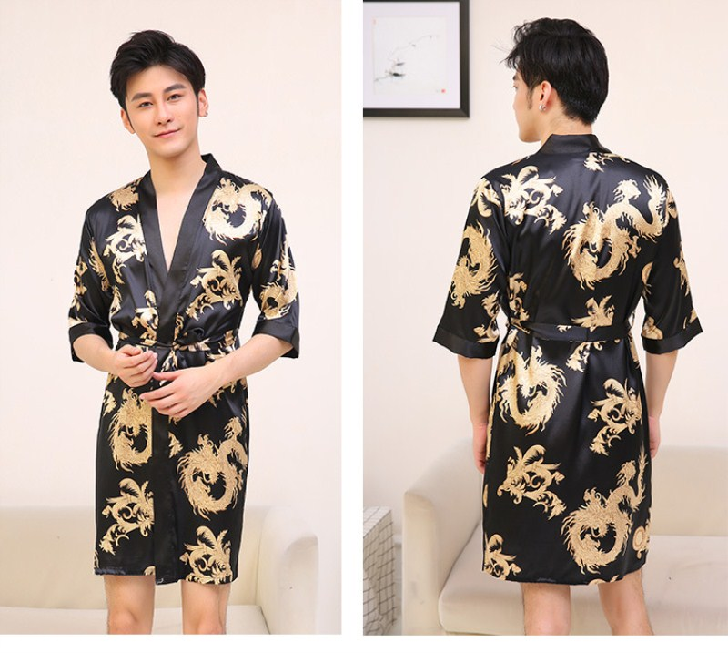 Men luxury print silk Dragon Robes Traditional Male Sleepwear Nightwear  Kimono With Bandage bath gown mens robes dressing gowns 344103691