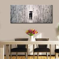 Ręcznie Malowane Czarno-białe Abstrakcyjne Obrazy Nowoczesne Miłośników z Parasolem Artwork Zdjęcia Ścienny do Salonu Dekoracje Ścienne Sztuki