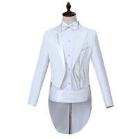 Mens Formal Suits White Crystals Slim Fit Blazers Group Musical Performance Costume Homme Wedding Party Prom Singer Stage Suit