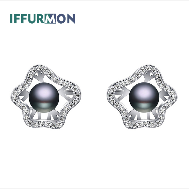 Iffurmon Fine Stud Earrings Sterling Silver 925 Earring Female Freshwater Pearl Flower Women Elegant Cristal