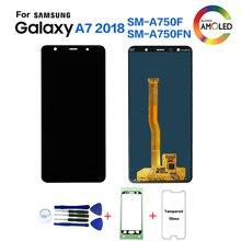 الأصلي لسامسونج A7 2018 A750 SM A750F شاشة lcd قطع غيار سامسونج A7 2018 A750FN شاشة عرض lcd وحدة