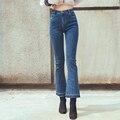 2016 American Apparel Causal Women Boot Cut Mom Jean Blue Black S-XL High Waist Wide Leg Jean Street Wear Leisure Denim Pant