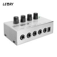 LEORY Professional Mini Karaoke Audio Mixer Ultra Compact 4 Channel Line Mono Microphone Sound Mixing Amplifier