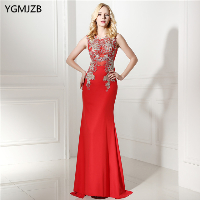 Red Long Evening Dresses 2018 Gold Appliques Lace Beaded Illusion ...