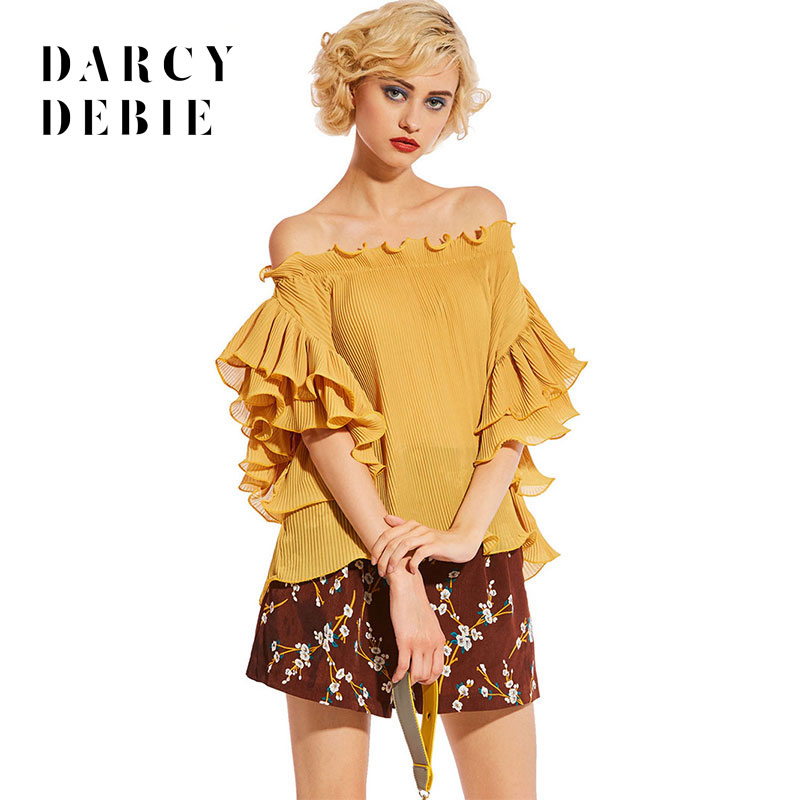 Darcydebie brand new Woman pure color pressure plait one word led laminated lotus leaf sleeve chiffon unlined upper garment