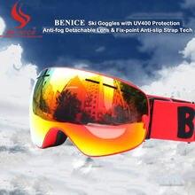 Быть хороший Бренд внешний вид лыжи и сноуборд очки с Съемный двойной Анти-туман слой УФ-400 катание на лыжах очки снег-3100