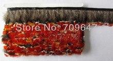 Hot!10Yards/Lot Height 5-6cm Lady Amherst Pheasant Red Trim Fringe FREESHIPPING