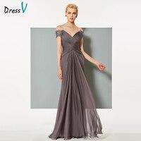 Dressv Dark Grey Chiffon Long Evening Dress Elegant V Neck Backless A Line Ruched Wedding Formal
