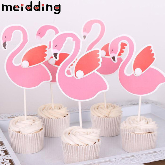 Meidding 5pcs Flamingo Theme Cake Toppers Birthday Party Cake Topper