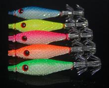 Fishing takcle 5pcs 7cm squid jigs with 4# hook fishing squid lures soft fishing lure 5 colors