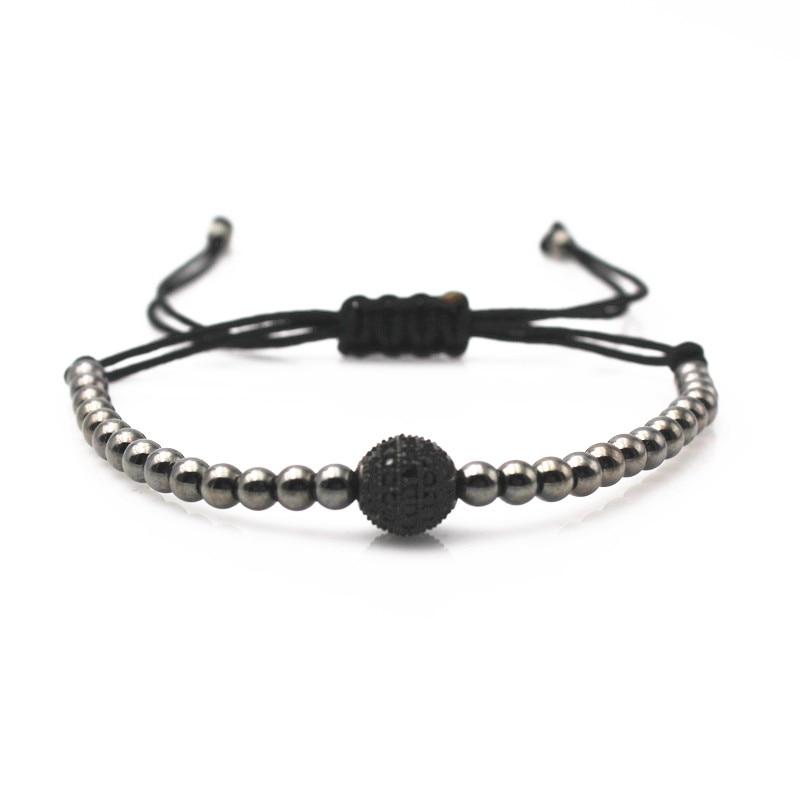 Men Anil Arjandas Macrame Bracelets,8mm Gun Black Micro Pave Black CZ Ball Beads &4mm Round Beads Black Rope Braiding Bracelet