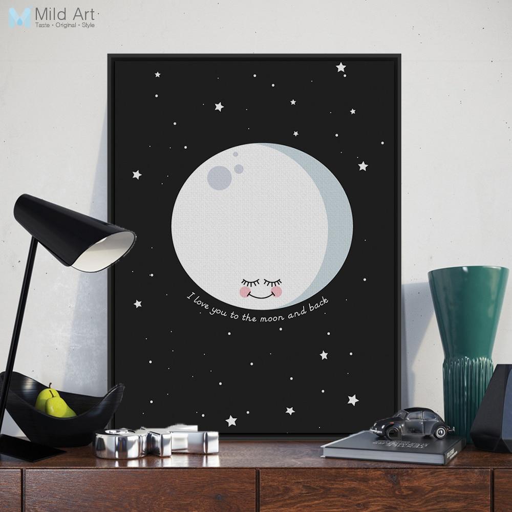 북유럽 사랑합니다 달 다시 인용 스타 포스터 인쇄 벽 예술 그림 캔버스 그림 사용자 정의 아이 방 홈 장식