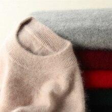 Zimowe swetry damskie 100% norek z kaszmiru z golfem dzianinowe swetry luźne miękkie ciepłe kobiece z długim rękawem Solid Color Jumper S XXL