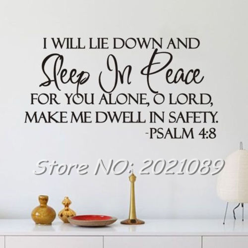 Sleep In Peace PSALM 4:8 Bible Verse room home decorations ...