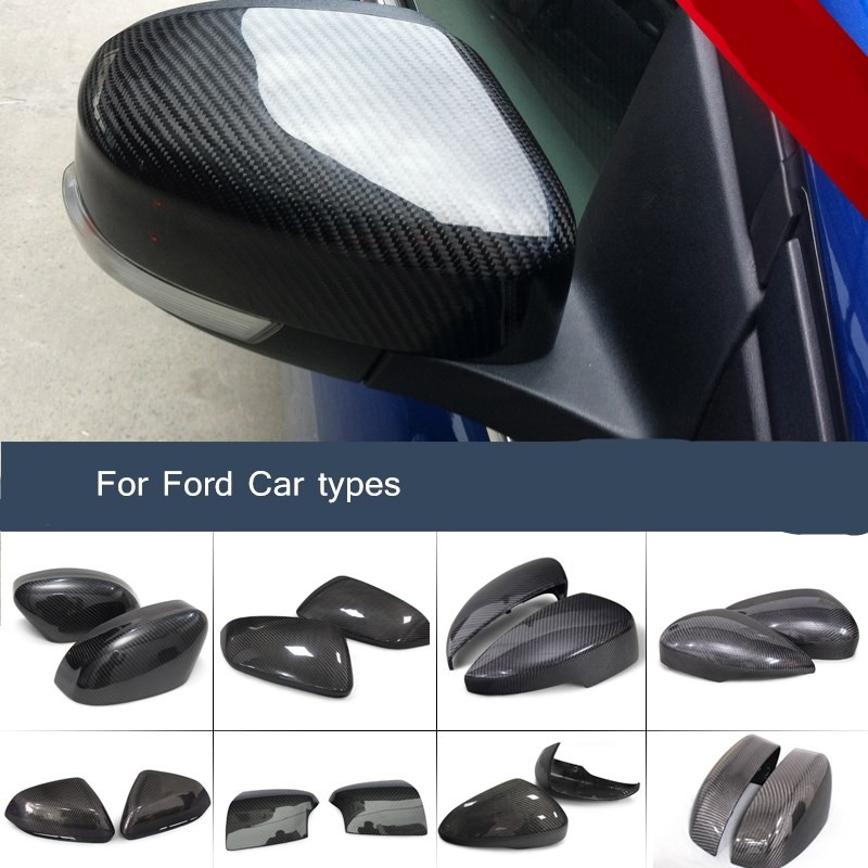 carbon fiber replacable rearview mirrors covers car modification for ford focus kuga Ecsport edge mondeo Taurus escort fiesta