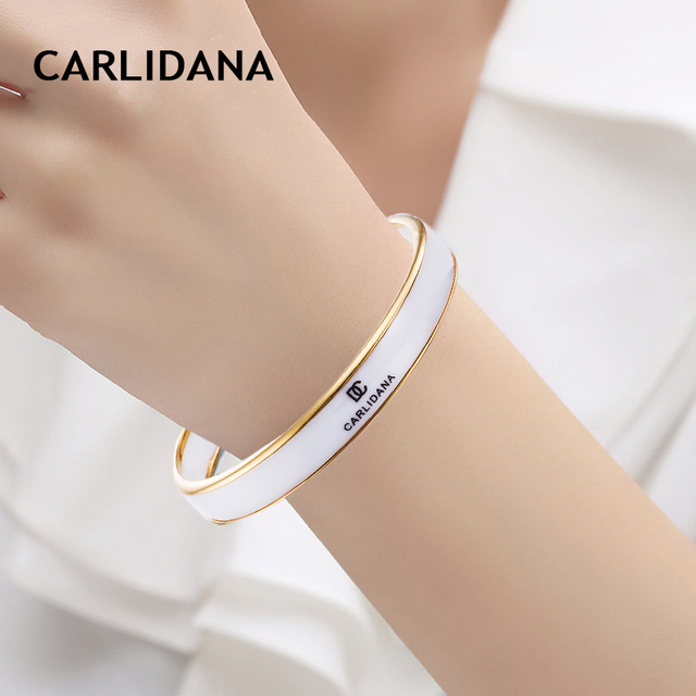Luxury Ceramic Bangle For Woman Stainless Steel Trendy Bangles Bracelet Rose Gold Color Fashion Jewelry Classic Gift CARLIDANA
