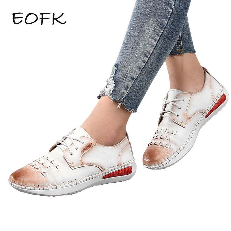 EOFK Spring Autumn Handmade Sewing Women Genuine Leather flat Shoes Lace Up Shoes Woman Flats Women's Casual Shoes Female guvoosm new autumn full genuine leather women flats female lace up loafers casual handmade rubber shoes woman big size 36 43