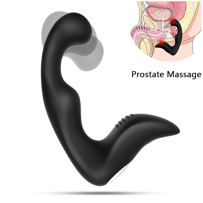 gelugee Male Prostate Massager Anal Vibrator Silicone 7 Speeds Butt Plug Sex Toys for Men Anal Toys Male Masturbator for Adult 100% medical silicone black dildo vibrator very thick 55mm l 16 cm 10 speeds vibrating penis anal butt plug sex toy big vibrator