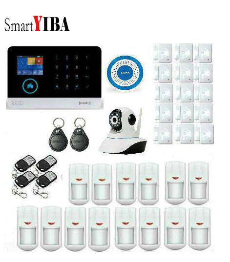 цена SmartYIBA WCDMA 3G Wireless Security Alarm WIFI APP Control Smart Home Burglar Alarm Sensors DIY kits Surveillance IP Cameras