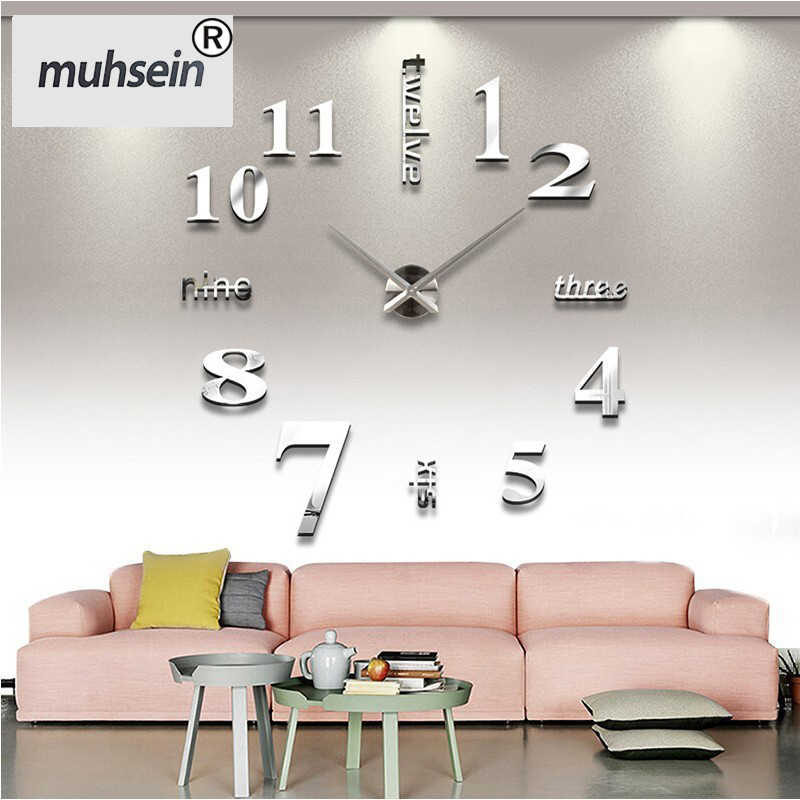2019 new sale wall clock clocks reloj de pared watch 3d diy Acrylic mirror Stickers Quartz Modern Home Decoration free shipping