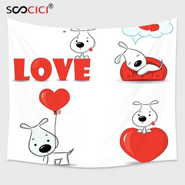 Cutom Tapestry Wall Hanginglove Decor Set Of Funny Dogs With Heart