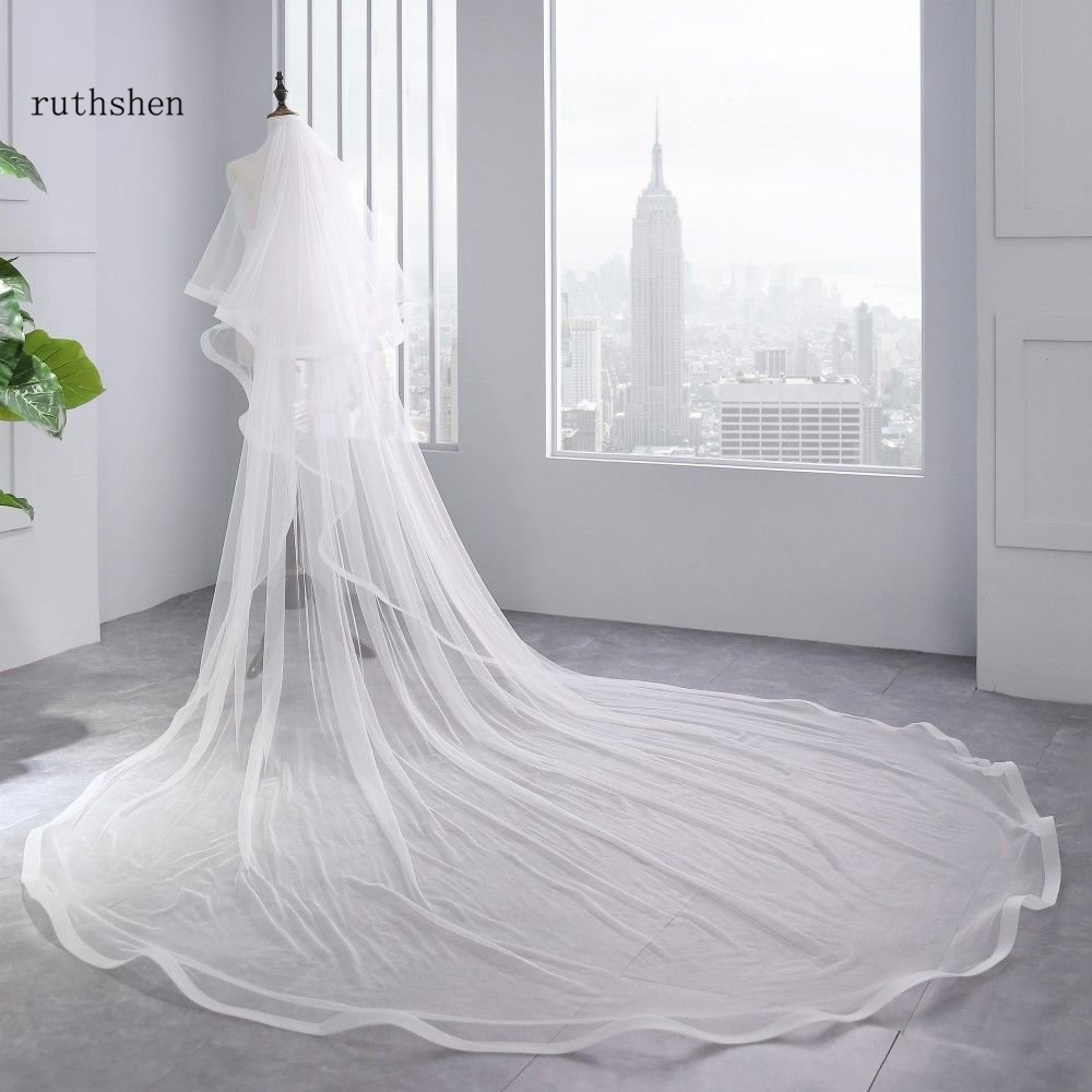 Bridal Veil Ivory White Cathedral Wedding Veils With Comb Birde Accessories 3 M Long Two Layers 2 M Wide Long VelosBridal Veils   -