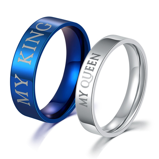 "1 Pair ""His Queen"" and ""Her King""stainless steel Couple rings for lovers, leave messsage for ring band size"