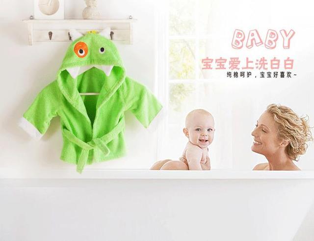 Los bebés recién nacidos de algodón puro Monster natación niños de mantener caliente la ropa albornoz toalla de baño envío gratis