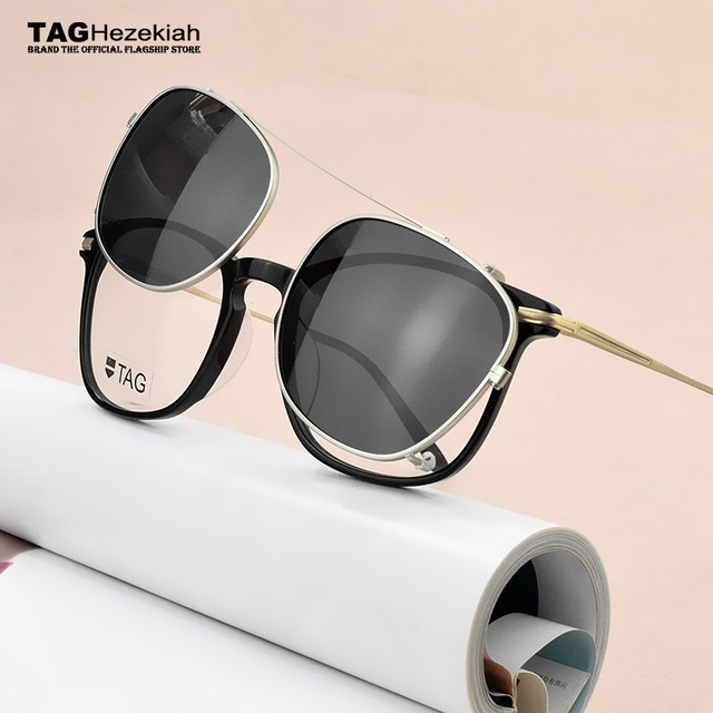 fdd8d230a6c Fashion Spectacle Frame 2019 TAG Brand Eyeglasses Men Women With on  Polarized Sunglasses clip Myopic computer glasses frame Nerd