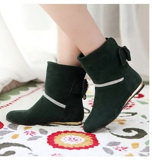 Womens boots mid-calf round toe shoes with rhinestone high increasing heels botas low heel plus size 12 11 3 purple black green