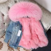Brand 2019 Real Fur Coat Winter Jacket Women Parka Real Raccoon Collar Fox Fur Liner Bomber Denim Jacket Streetwear Ins Fashion