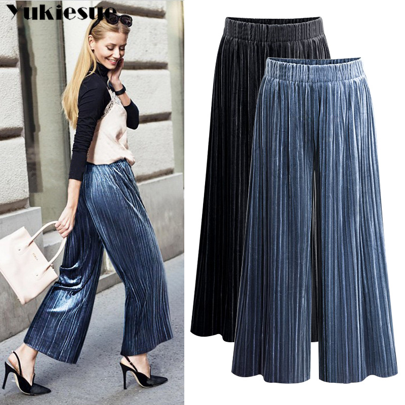 Pleated velvet   wide     leg     pants   for women loose elastic high waist straight   pants   female trousers Plus size pantalon femme mujer
