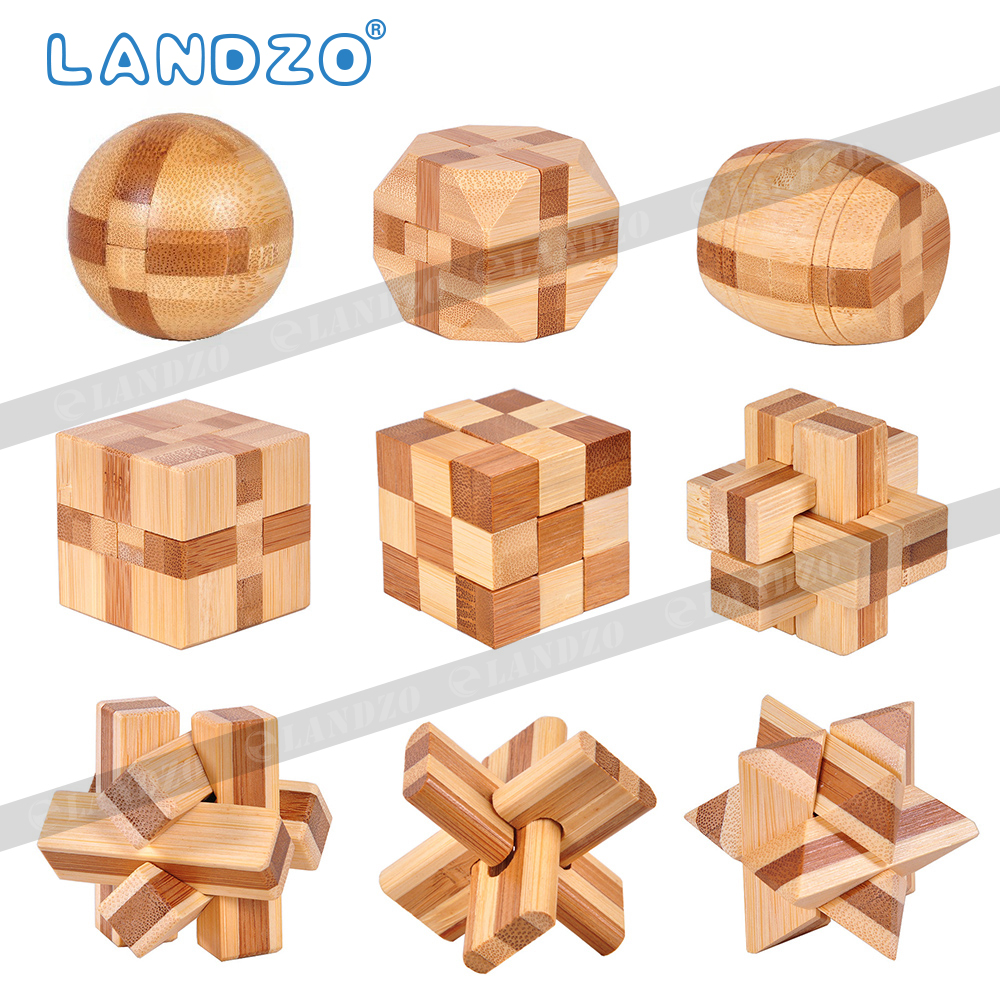 Design IQ Brain Teaser Kong Ming Lock Wooden Interlocking Burr 3D Puzzles Game Toy Intellectual Educational For Adults Kids puzzle toy wooden three open kong ming lock