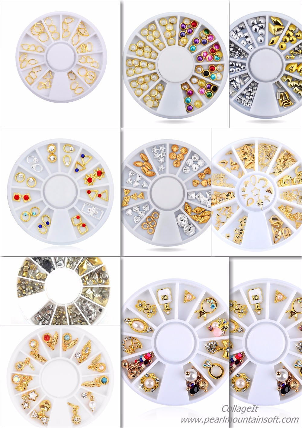 New 3D Cystal Colourful Nail Art Decoration Wheel,Alloy Metal Nail Art Rhinestones Different shapes Rivet Manicure Supplies